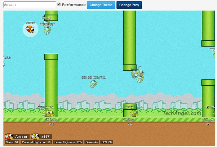 Play Flappy Bird multiplayer online free